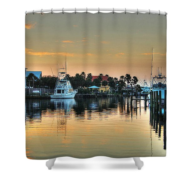 Dawn On A Orange Beach Canal Shower Curtain