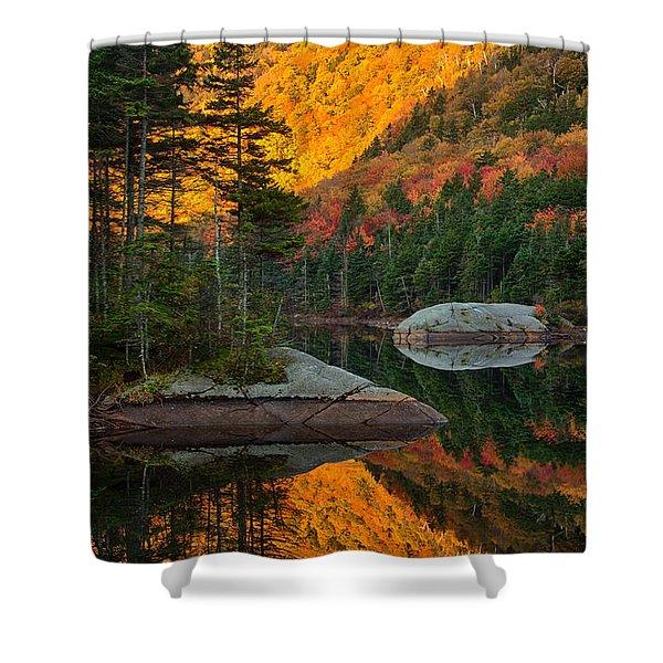 Dawns Foliage Reflection Shower Curtain