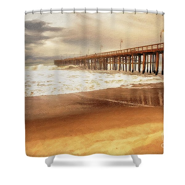 Shower Curtain featuring the painting Day At The Pier Large Canvas Art, Canvas Print, Large Art, Large Wall Decor, Home Decor, Photograph by David Millenheft