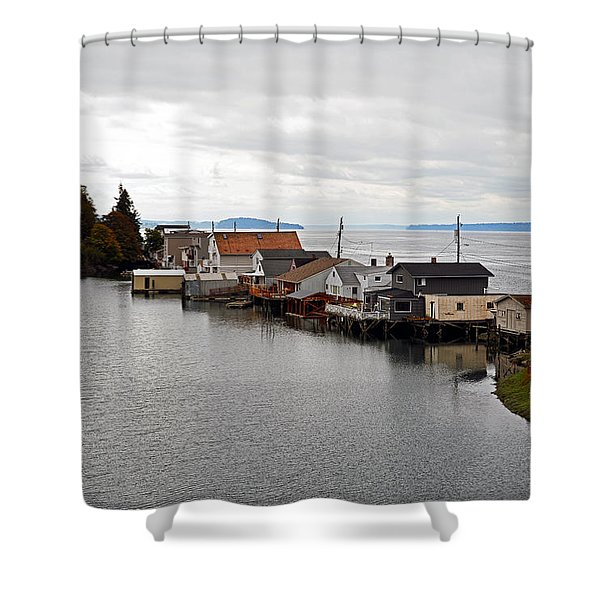 Day Island Bridge View 1 Shower Curtain