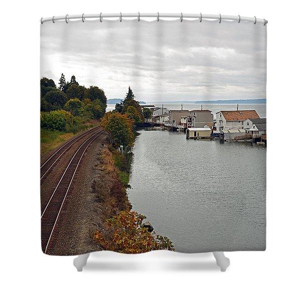 Day Island Bridge View 2 Shower Curtain