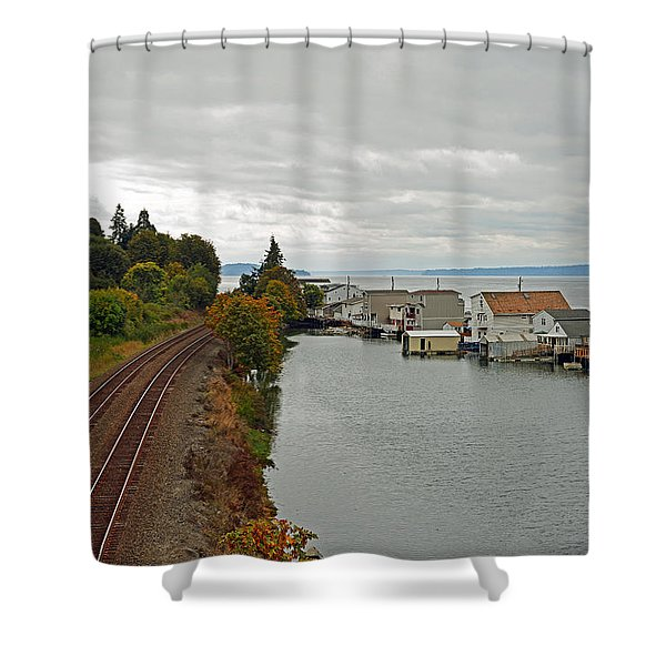 Day Island Bridge View 3 Shower Curtain
