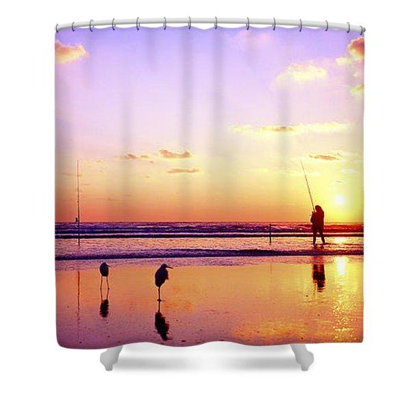 Daytona Beach Fl Surf Fishing And Birds Shower Curtain