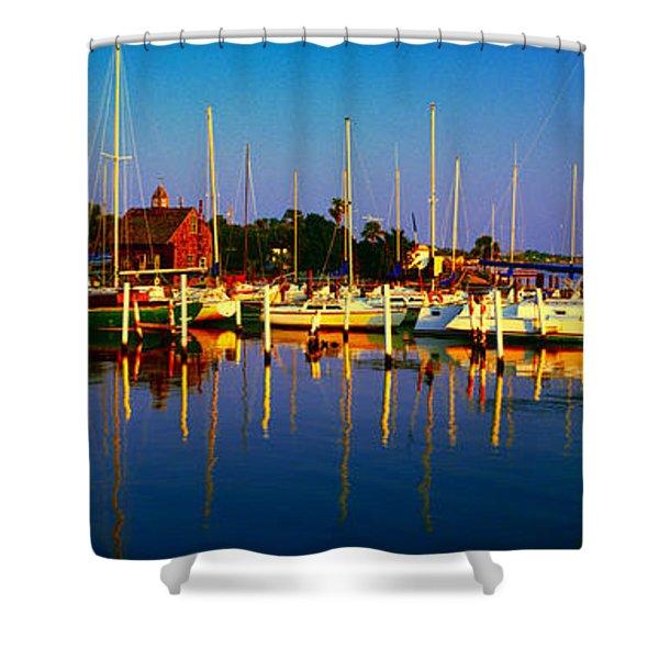 Daytona Beach Florida Inland Waterway Private Boat Yard With Bird   Shower Curtain