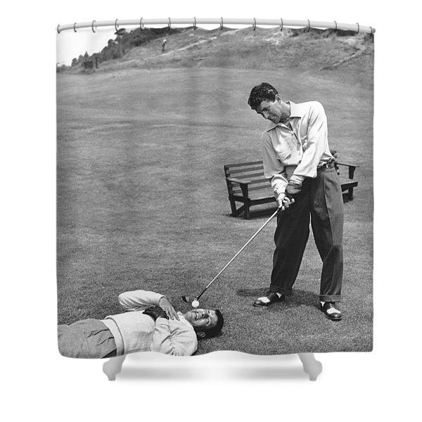 Dean Martin & Jerry Lewis Golf Shower Curtain