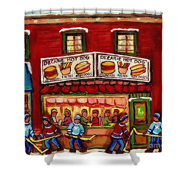 Decarie Hot Dog Restaurant Cosmix Comic Store Montreal Paintings Hockey Art Winter Scenes C Spandau Shower Curtain