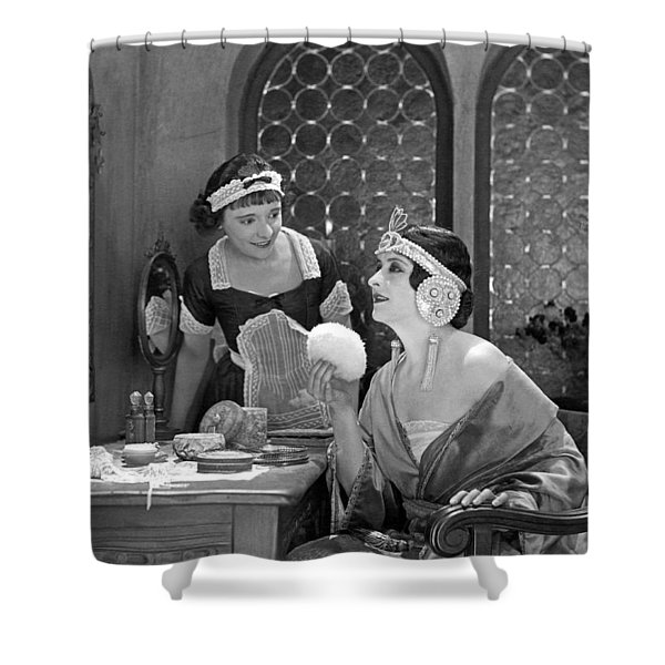 Deco Woman Puts On Makeup Shower Curtain