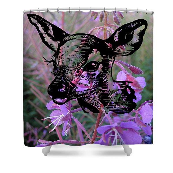 Deer On Flower Shower Curtain
