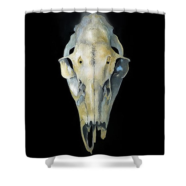 Deer Skull With Aura Shower Curtain