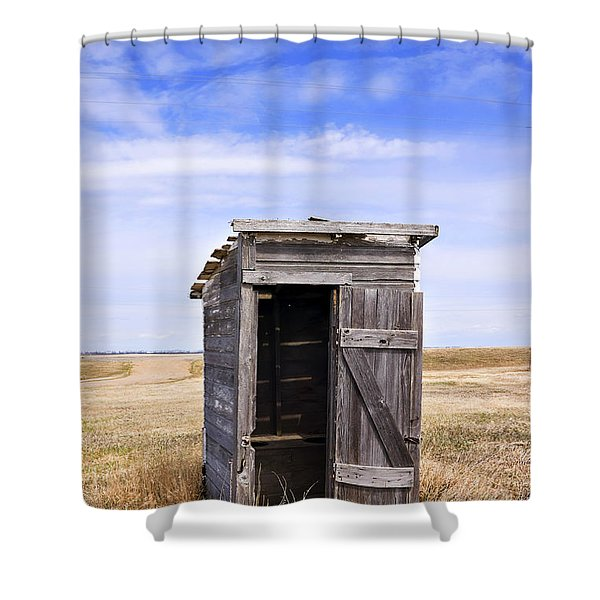 Defunct Outhouse At Rural Elementary School Shower Curtain