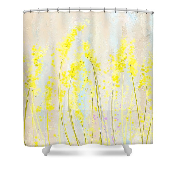 Delicately Soft- Yellow And Cream Art Shower Curtain