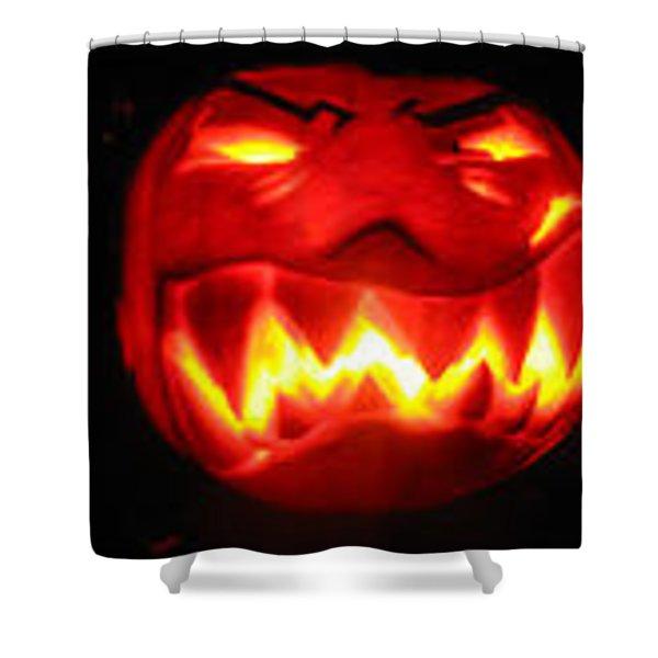 Demented Mister Ullman Pumpkin Shower Curtain