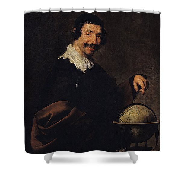 Democritus, Or The Man With A Globe Oil On Canvas Shower Curtain
