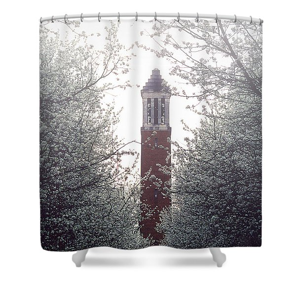 Denny Chimes Foggy Blossoms Shower Curtain