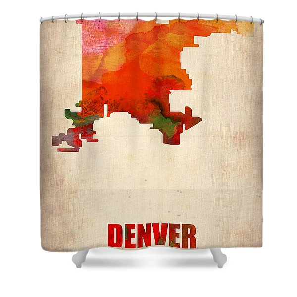 Denver Watercolor Map Shower Curtain