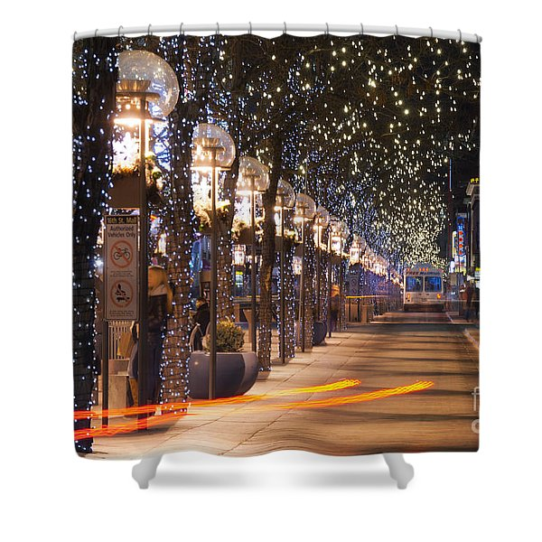 Denver's 16th Street Mall At Christmas Shower Curtain