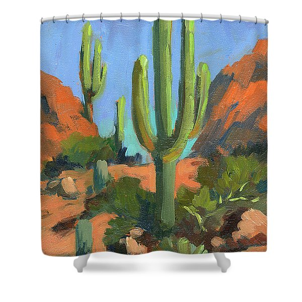 Desert Morning Saguaro Shower Curtain