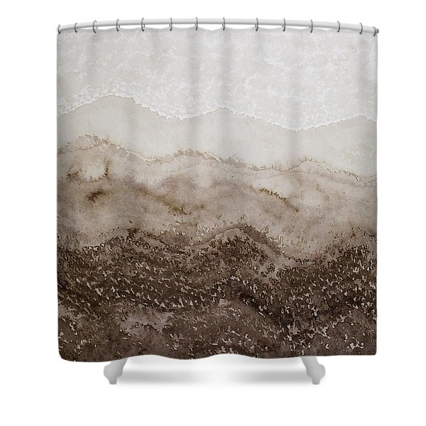 Desert Mountain Mist Original Painting Shower Curtain
