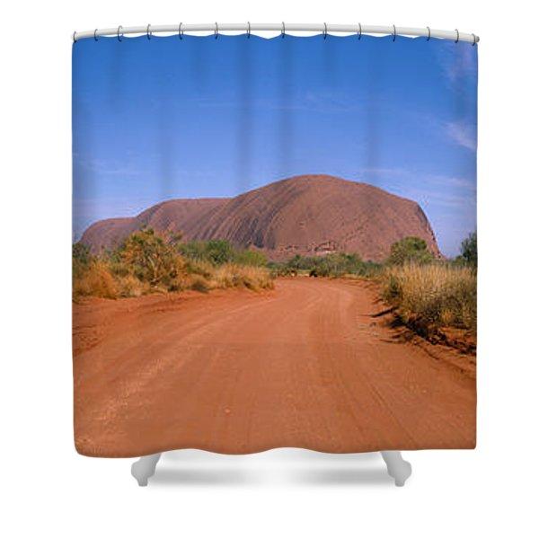 Desert Road And Ayers Rock, Australia Shower Curtain