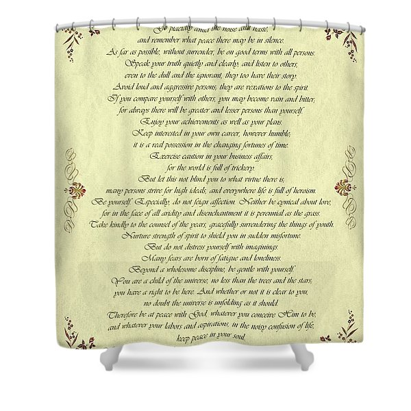 Desiderata Gold Bond Scrolled Shower Curtain