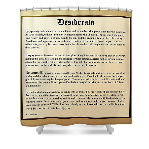 Desiderata Old English Square Shower Curtain