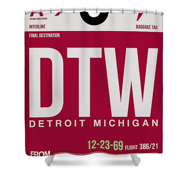 Detroit Airport Poster 2 Shower Curtain