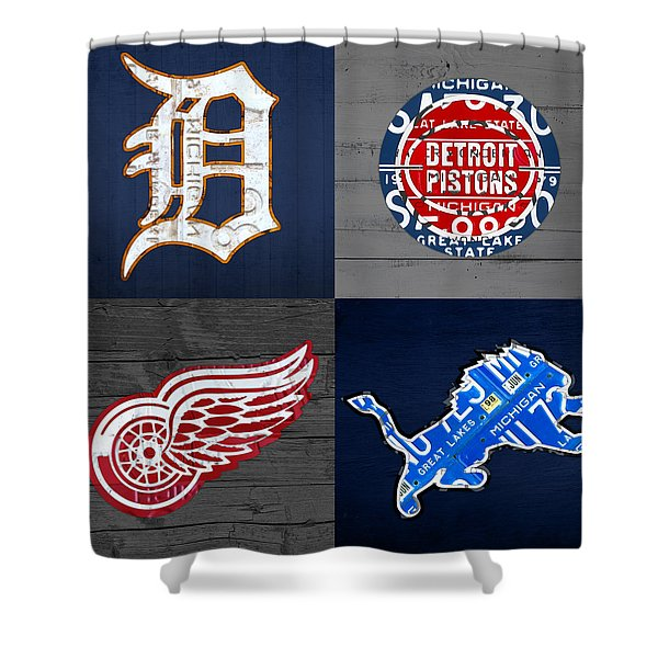 Detroit Sports Fan Recycled Vintage Michigan License Plate Art Tigers Pistons Red Wings Lions Shower Curtain