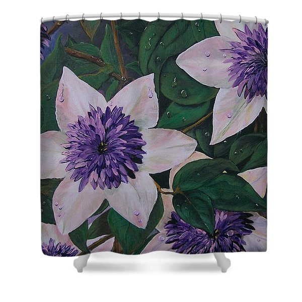 Clematis After The Rain Shower Curtain