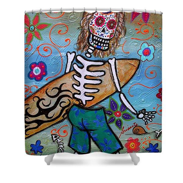 Dia De Los Muertos Surfer Shower Curtain