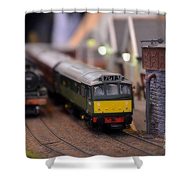 Diesel Electric Model Train Railway Engine Shower Curtain