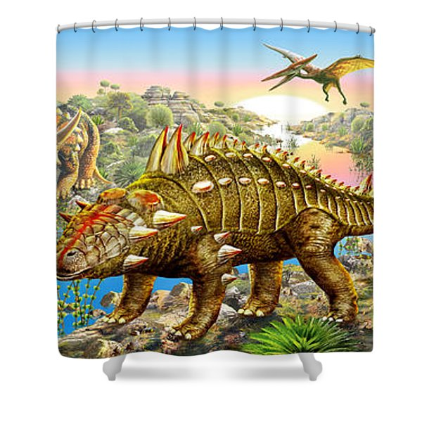 Dinosaur Panorama Shower Curtain