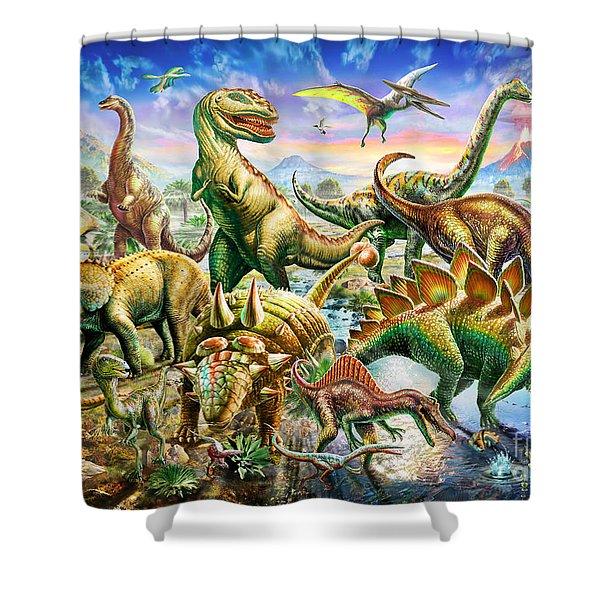Dinoscene   Shower Curtain
