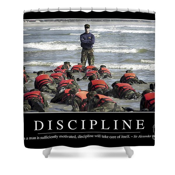 Discipline Inspirational Quote Shower Curtain