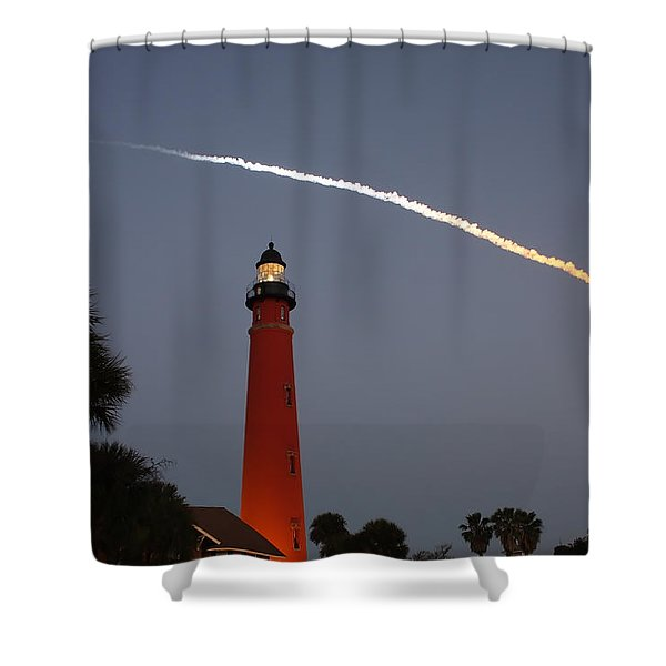 Discovery Booster Separation Over Ponce Inlet Lighthouse Shower Curtain