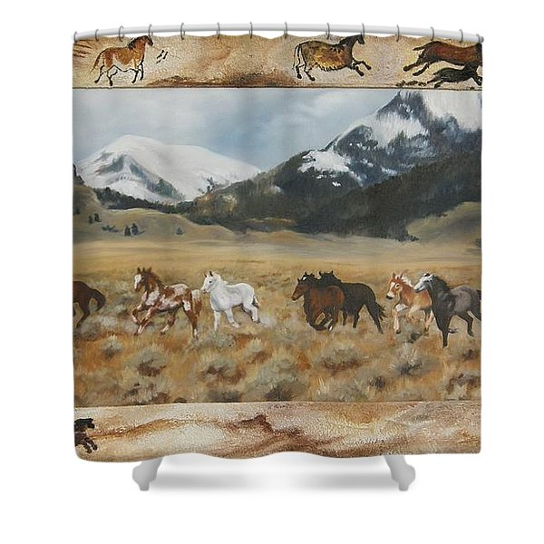 Discovery Horses Framed Shower Curtain