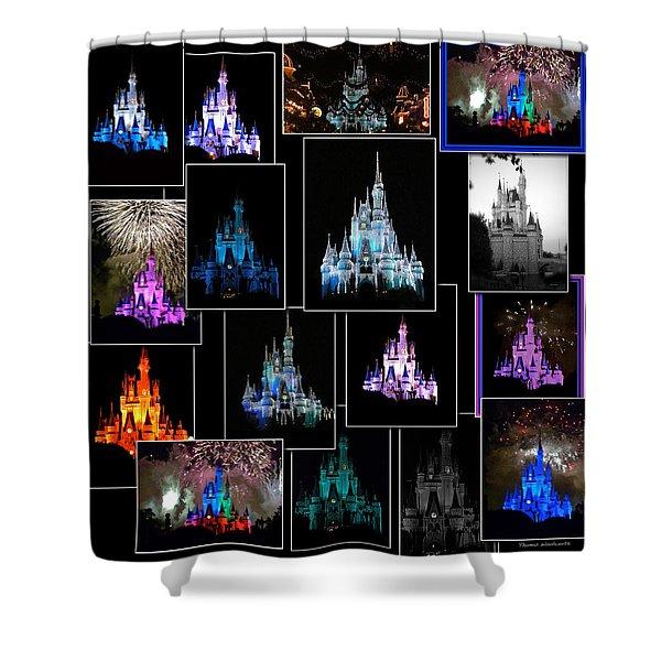 Disney Magic Kingdom Castle Collage Shower Curtain