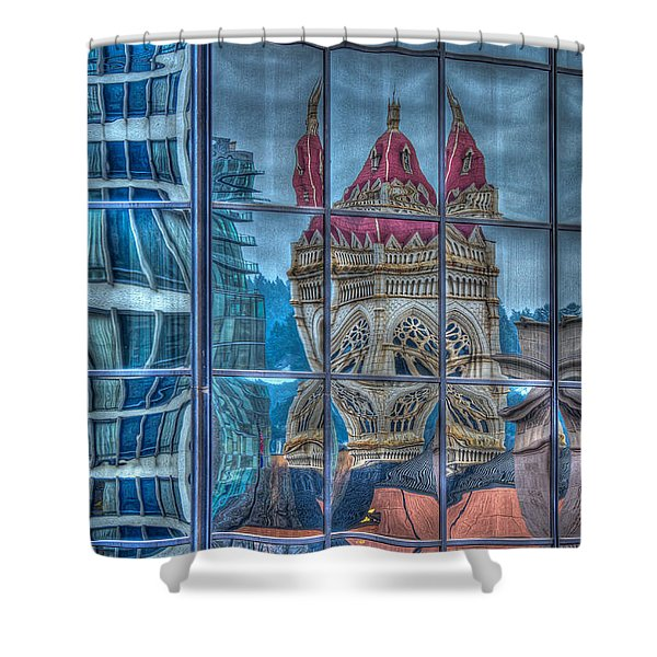 Distorted Portland Shower Curtain