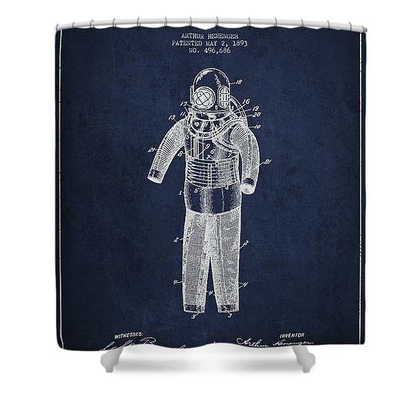 Diving Armor Patent Drawing From 1893 Shower Curtain