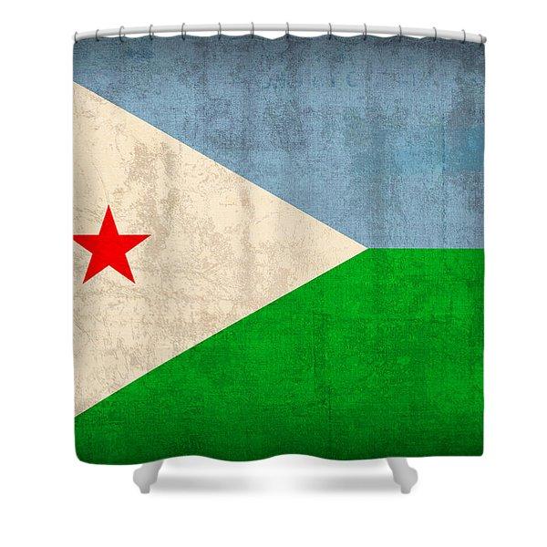 Djibouti Flag Vintage Distressed Finish Shower Curtain