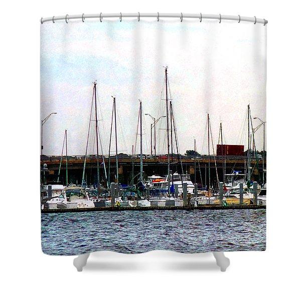 Docked Boats Norfolk Va Shower Curtain