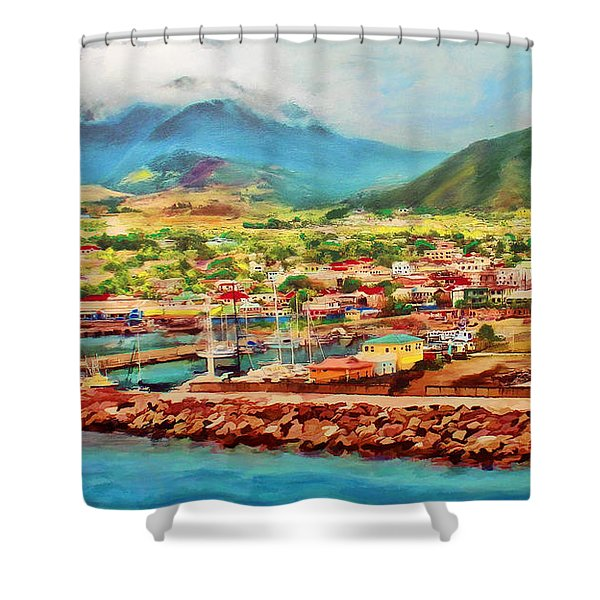 Docked In St. Kitts Shower Curtain