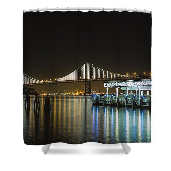 Docks And Bay Lights Shower Curtain