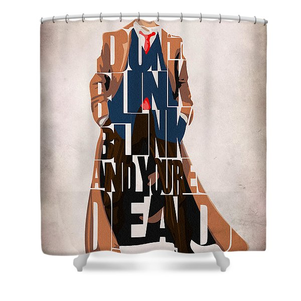 Doctor Who Inspired Tenth Doctor's Typographic Artwork Shower Curtain