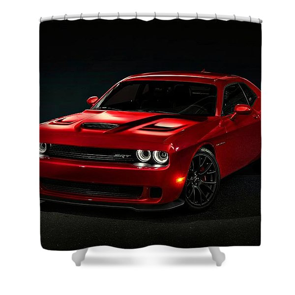 Dodge Challenger S R T Hellcat Shower Curtain