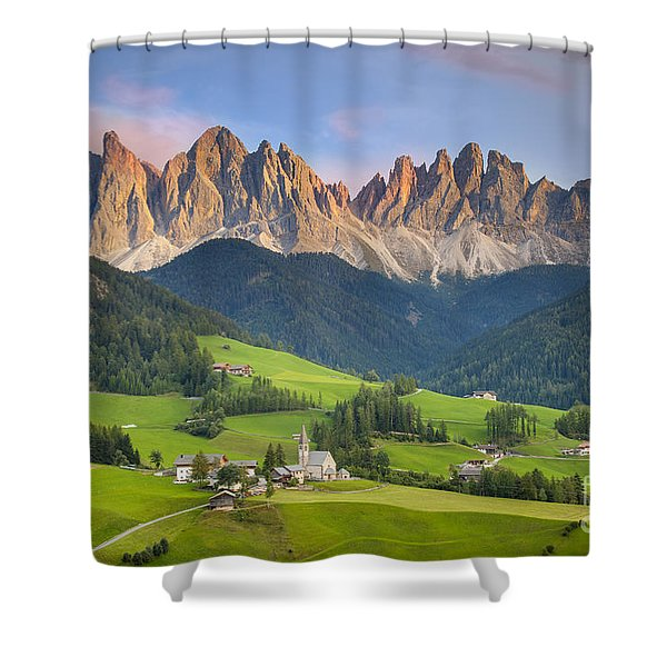 Shower Curtain featuring the photograph Dolomites From Val Di Funes by Brian Jannsen