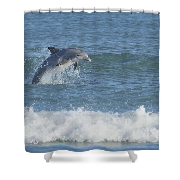 Dolphin In Surf II Shower Curtain