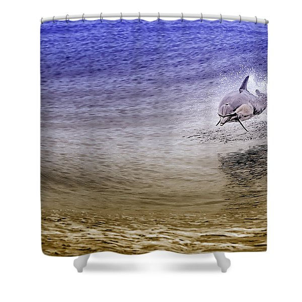 Shower Curtain featuring the photograph Dolphin Jumping by David Millenheft