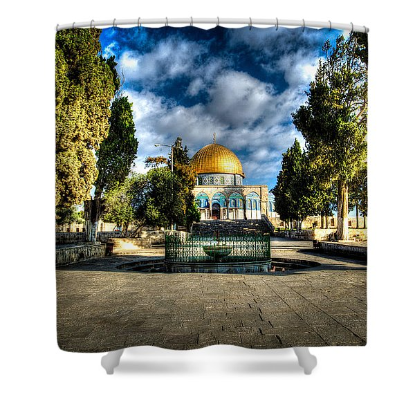 Dome Of The Rock Hdr Shower Curtain