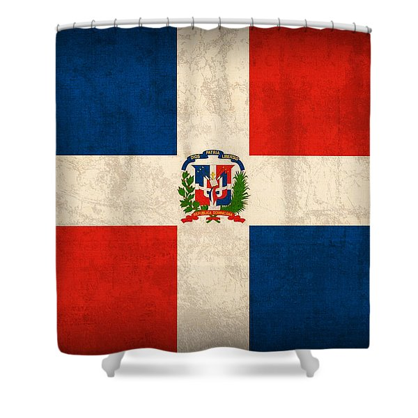 Dominican Republic Flag Vintage Distressed Finish Shower Curtain