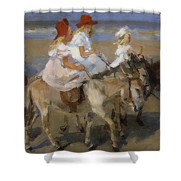 Donkey Rides Along The Beach Shower Curtain